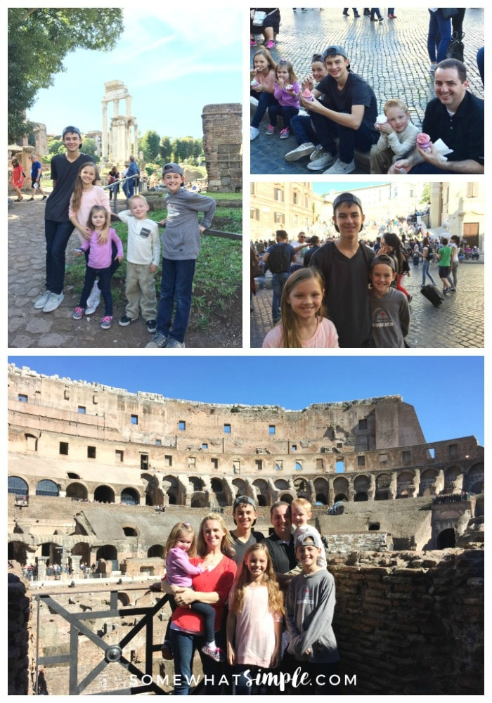 a collage of things to see and do in Rome on your european vacation that includes pictures of a family in the Roman Colosseum, a father and five kids eating gelato in the Piazza Navona, three children in front of the Spanish Steps and five children in the Roman Forum in front of Roman ruins