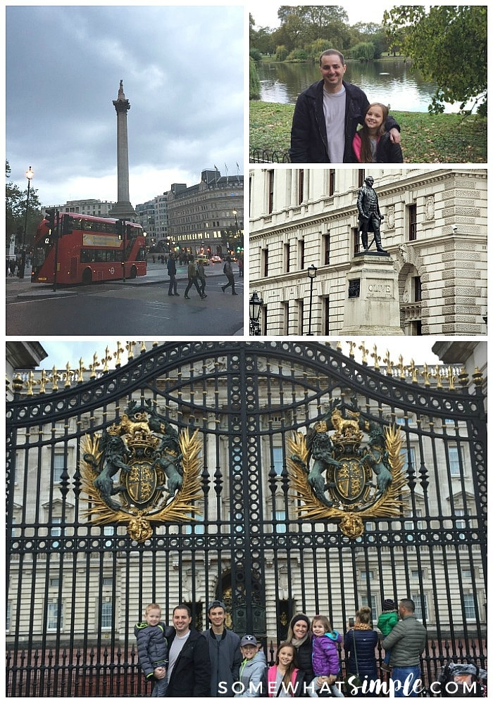 a photo collage of London attractions that include pictures of Trafalgar Square, a father and daughter in St. James Park and a family of seven in front of Buckingham Palace