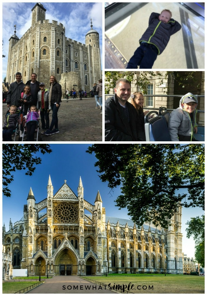a collage showing things do in London, featuring pictures of a family in front of the Tower of London, a boy laying on the glass floor of the Tower Bridge, a father and two kids riding on the top of a double decker bus and Westminster Abbey