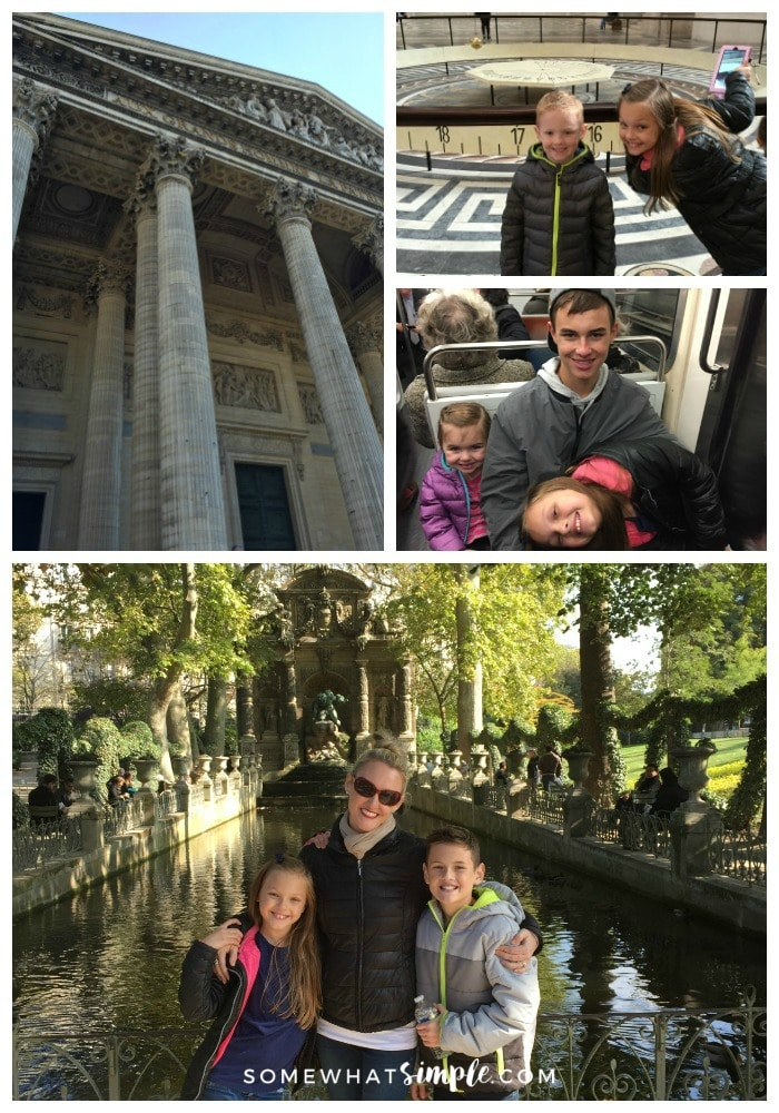 a collage of things to see in Paris featuring pictures of the Pantheon in Paris, two children in front of the pendulum clock inside the Pantheon, children riding the subway and a beautiful mom with two of her kids standing in front of water inside the Luxembourg Gardens