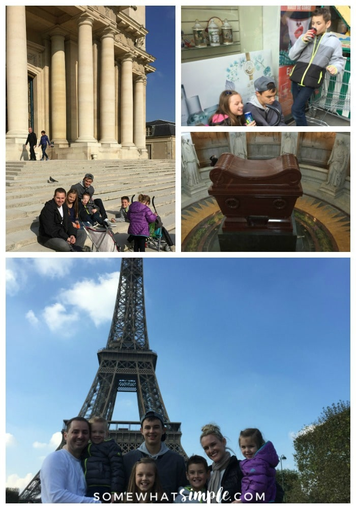 a collage featuring pictures of Paris attractions including a family sitting in front of the building where Napoleon was buried, Napoleon's tomb and a family of seven in front of the Eiffel tower