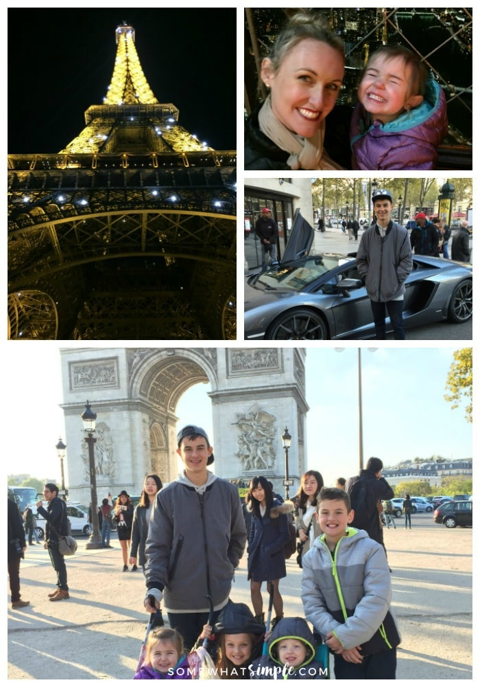 a collage featuring things to see and do in Paris including a picture of the Eiffel tower at night, a beautiful women with her daughter at the top of the Eiffel tower at night, a teenage boy standing in front of a Lamborghini on the Champs-Elysees and five children standing in front of the Arc de Triumph