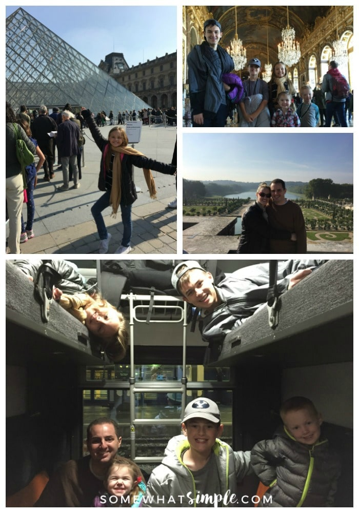 a collage featuring pictures of things to see and do in Paris including a young girl in front of the glass pyramid at the Louvre, five children standing in the hall of mirrors in the palace of Versailles and a dad with his five kids inside a sleeper car on the overnight train from Paris to Venice