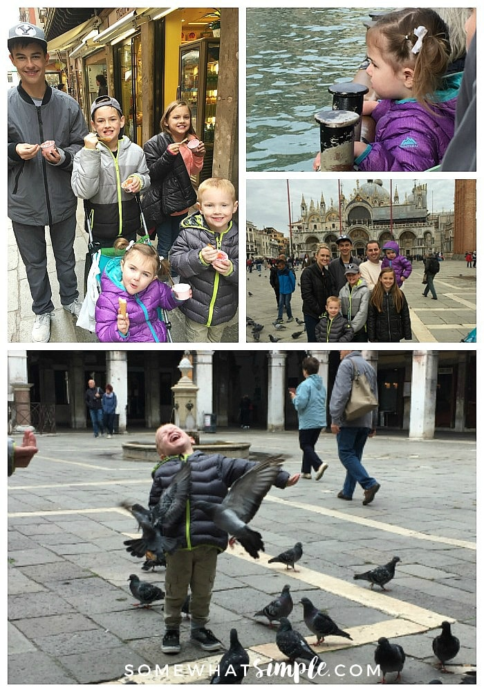 a picture collage featuring things to do in Venice; include five children eating gelato, a little girl standing by the Grand Canal, a family of seven in front of St. Mark's square and a young boy with pigeons landing on him in a Venice square