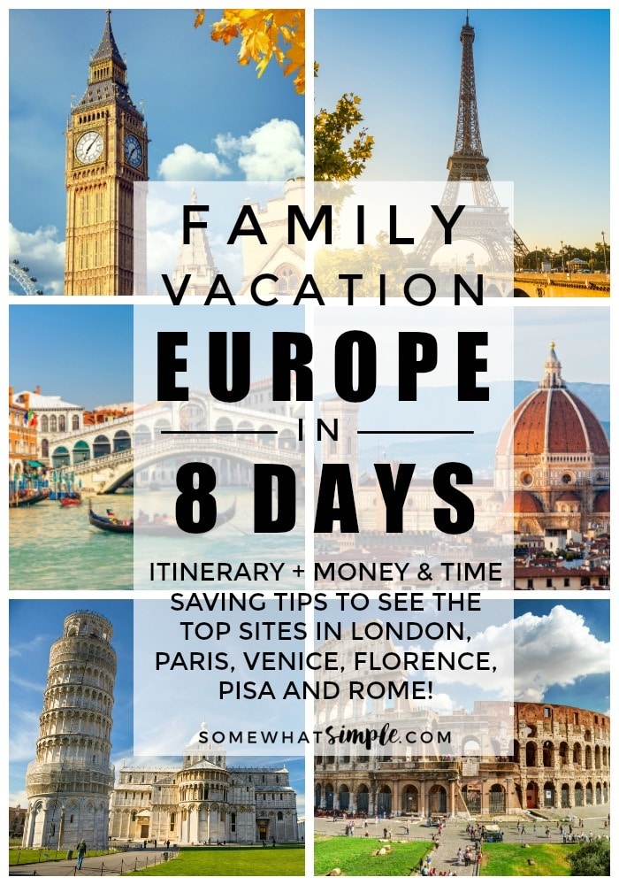 Family Vacation to Europe - Tips and tricks on how to plan, how to save money and how to do it in only 8 days! #familytravel #familyvacation #itinerary #europe  #london #paris #italy #rome #venice #traveltips #europeanfamilyvacation via @somewhatsimple
