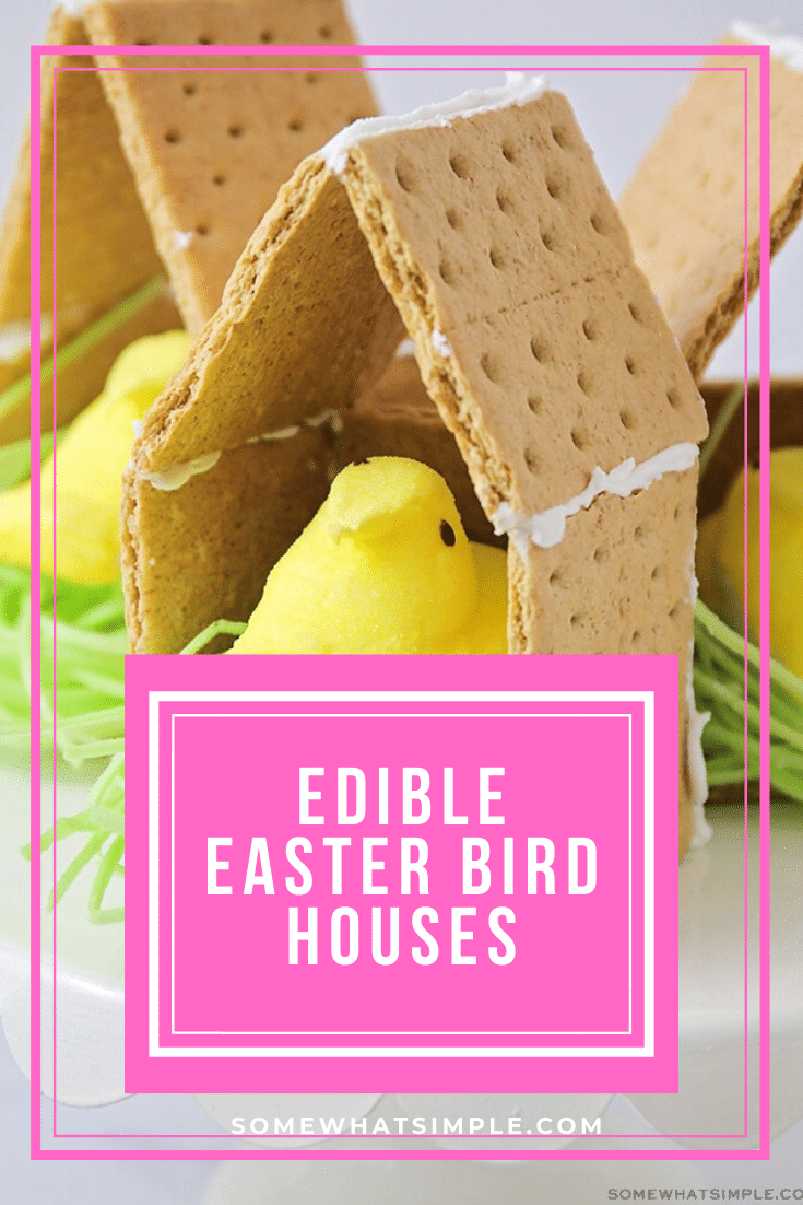 This Peeps Bird House is a fun Spring twist on the classic graham cracker gingerbread house! #Easter #GingerbreadHouse #Easy #Treat #spring #grahamcracker #peeps via @somewhatsimple