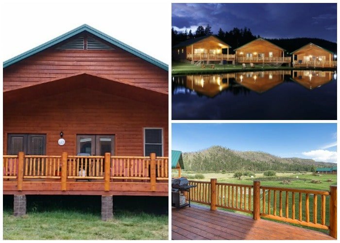 a collage of a cabin in Greer, AZ