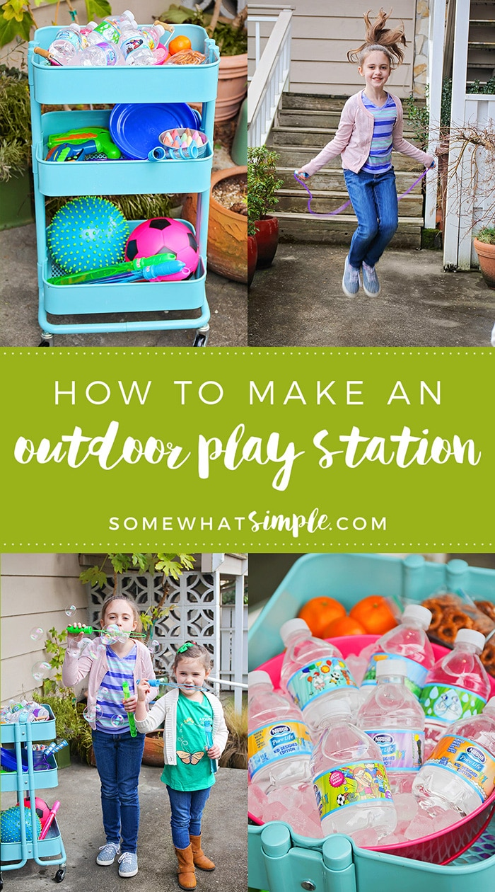 This simple and fun outdoor play station has everything you need to keep the kids entertained and hydrated all summer long!