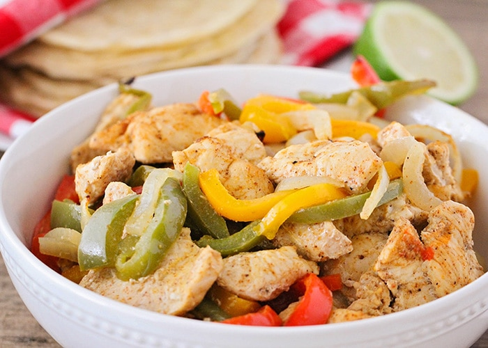 Sheet Pan Chicken Fajitas bowl