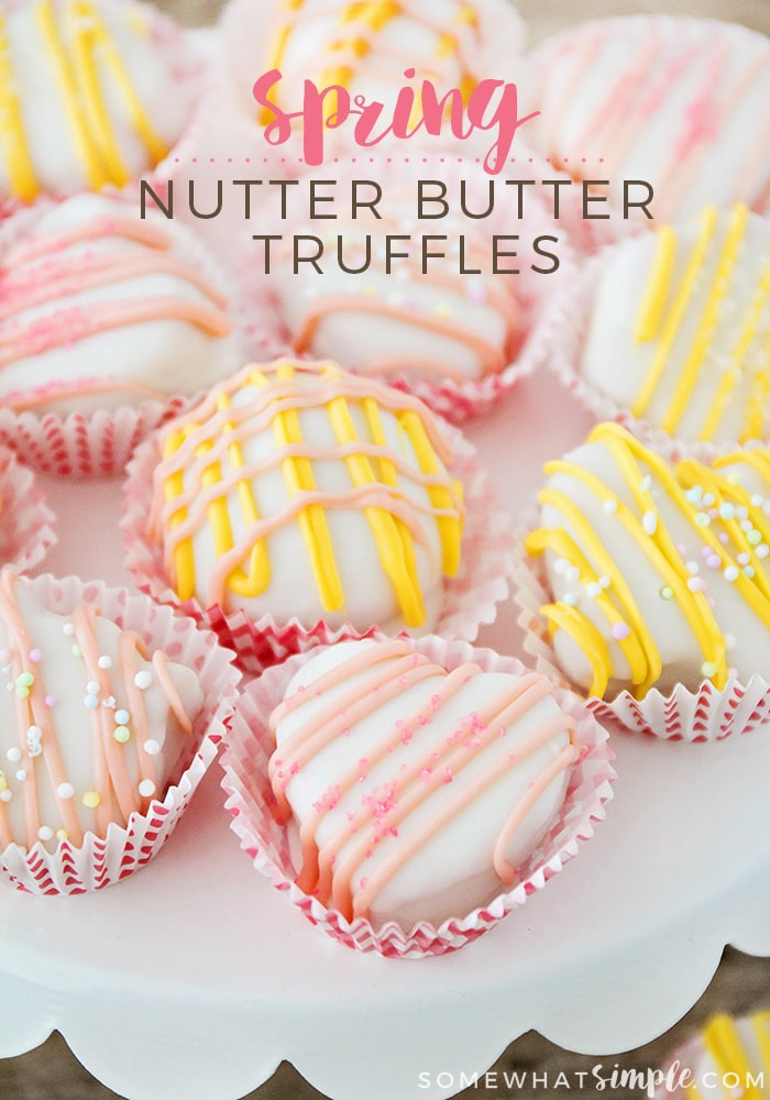 These Spring Nutter Butter Truffles are a fun, EASY recipe that uses just a few ingredients!! via @somewhatsimple