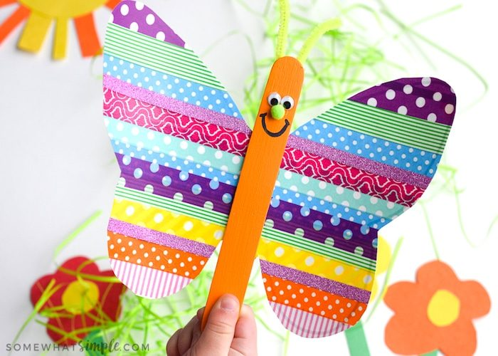 Grab the kids, a few rolls of washi tape, and some basic craft supplies to make these super cute washi tape butterflies!