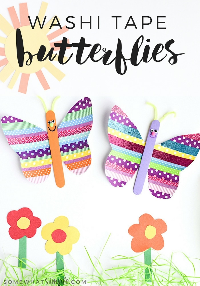 Grab a few rolls of washi tape and some basic craft supplies to make these super cute washi tape butterflies! via @somewhatsimple
