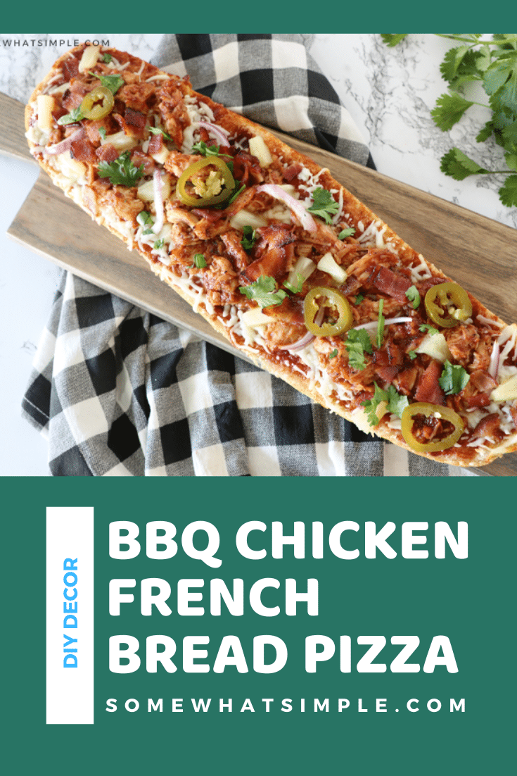 BBQ chicken french bread pizza is one of our family's favorite dinner recipes! Made with soft french bread with a crispy crust and topped with chicken, bacon, cheese, pineapple, and a savory BBQ sauce! This dinner is so easy, that it's ready in under 20 minutes. Plus, follow this one simple tip to keep your french bread pizza from getting soggy. via @somewhatsimple