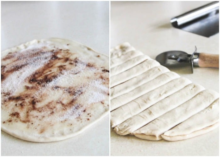 dough with cinnamon sugar sprinkled over the top and then cut into strips