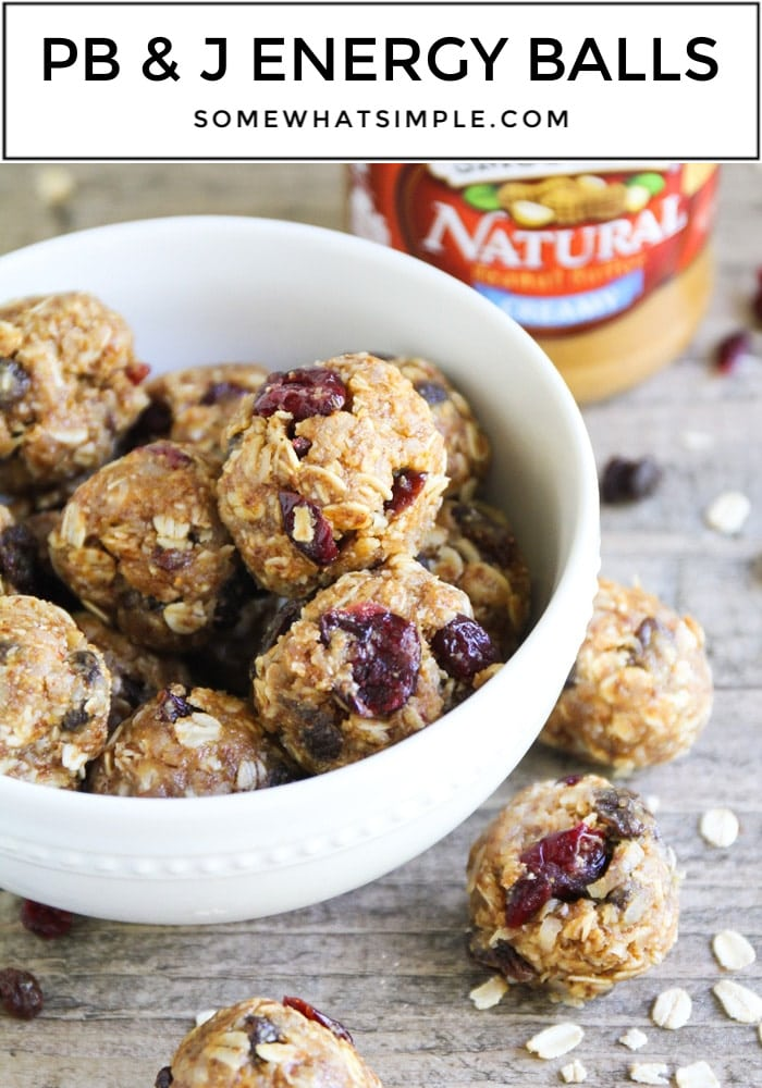 These No-Bake Peanut Butter and Jelly Energy Balls are healthy, filling and simply delicious! #energyballs #pbj #energy #bites #snacks #healthy via @somewhatsimple