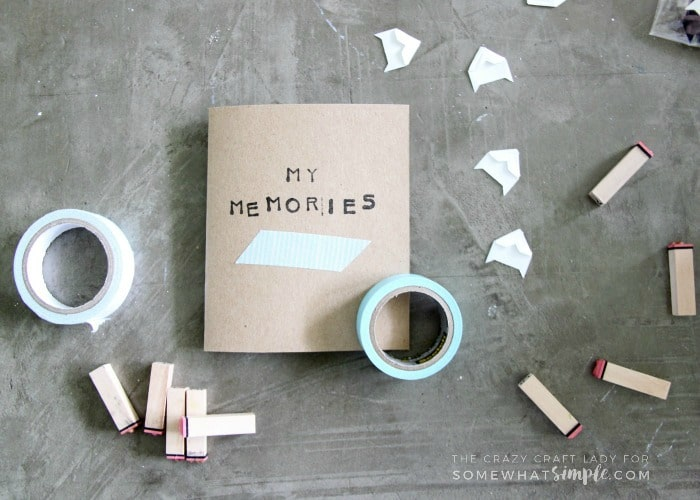 Make a mini scrapbook for your child to decorate and customize on their own. This is a genius way to scrapbook vacation memories!