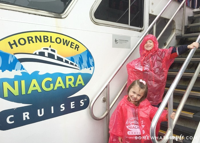 two cute kids on a Hornblower Cruises boat to Niagara Falls