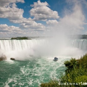 overlooking Niagara Falls from the Canadian side with a boat close to the falls