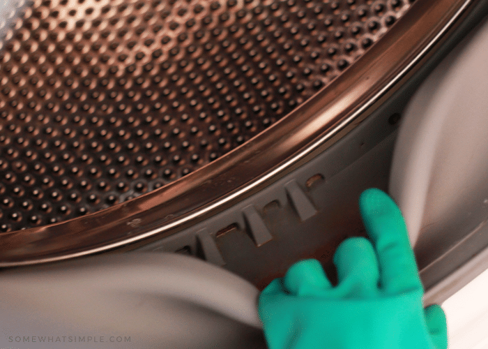 a hand with a rubber glove pulling back the rubber seal in a front load washing machine that is clean inside the seal