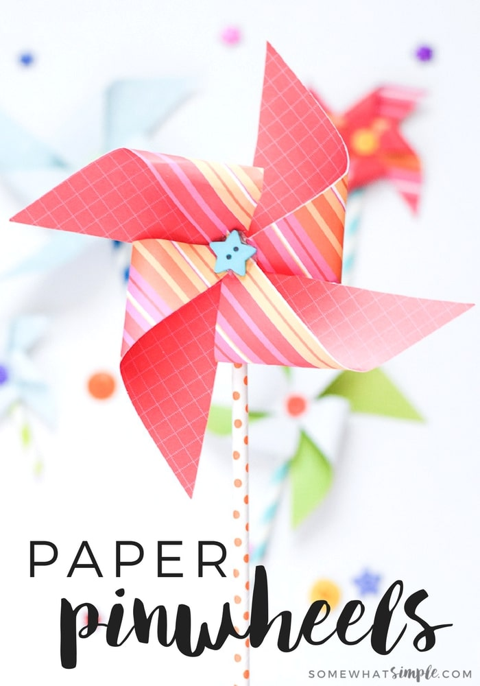 These paper pinwheels are a colorfully fun craft to make with the kids! via @somewhatsimple