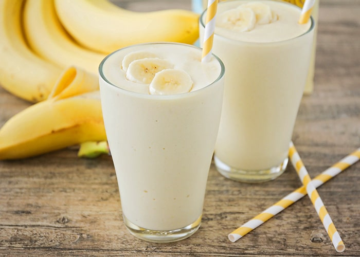 This tropical banana smoothie has only four ingredients, and is ready in under five minutes! So delicious and perfect for an easy breakfast or quick snack!