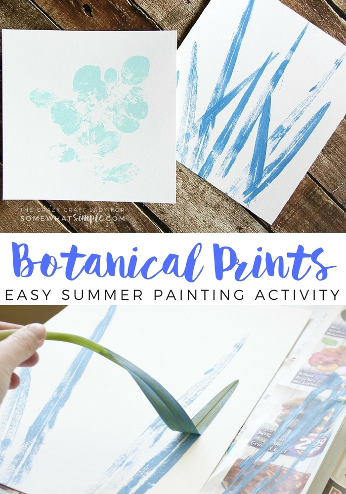 Grab a few leaves from the yard and make these Painted Botanical Prints. This is an easy and fun summer craft for all ages! via @somewhatsimple