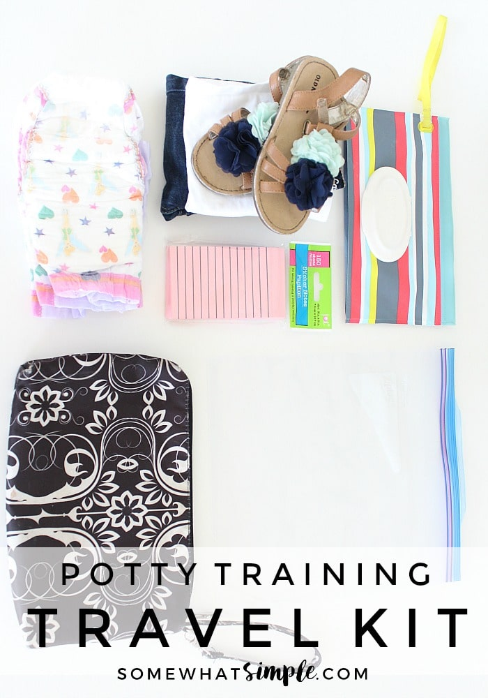 What to include in a potty training travel kit so your next trip is stress free and mess free!  via @somewhatsimple