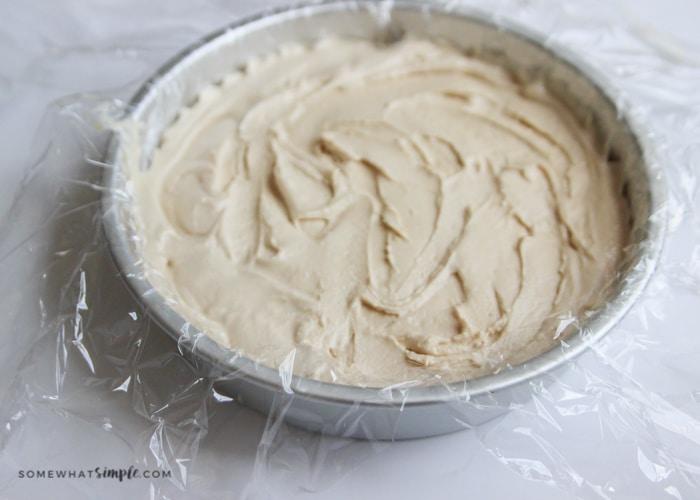 peanut butter ice cream in a prepared pan