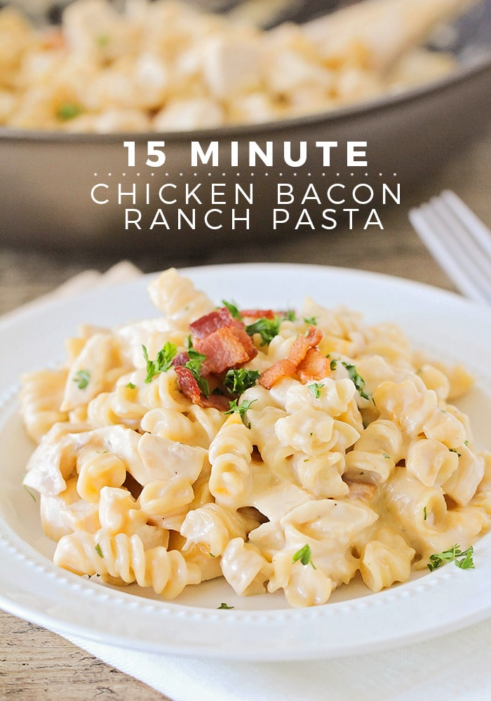 This delicious chicken bacon ranch pasta is ready in just 15 minutes and so easy to make! via @somewhatsimple