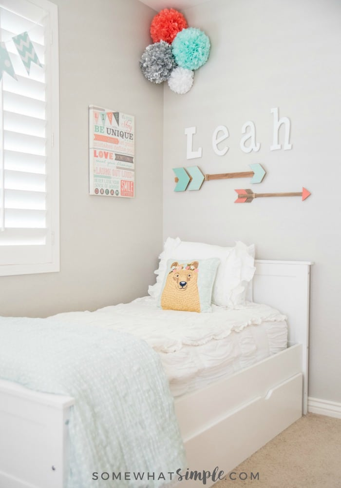 Since the accessories in the room can be a bit loud we went with a soft bedspread in solid white. (My neutral-loving self had to tone it down somehow!) & Tween Girl Bedroom - A Space Just for Leah! - Somewhat Simple