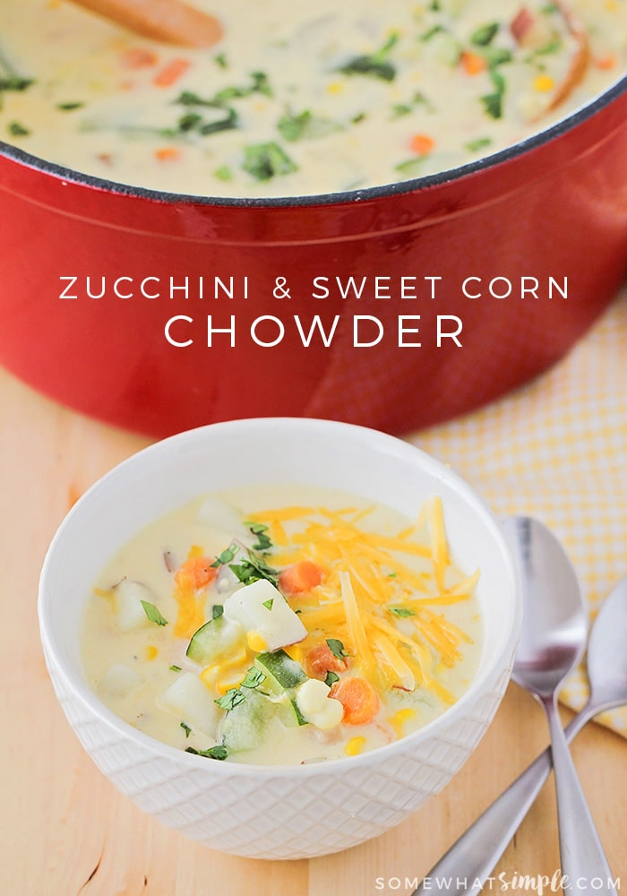 This savory zucchini sweet corn chowder is perfect for using those fresh summer vegetables. A simple and delicious dinner everyone will love!