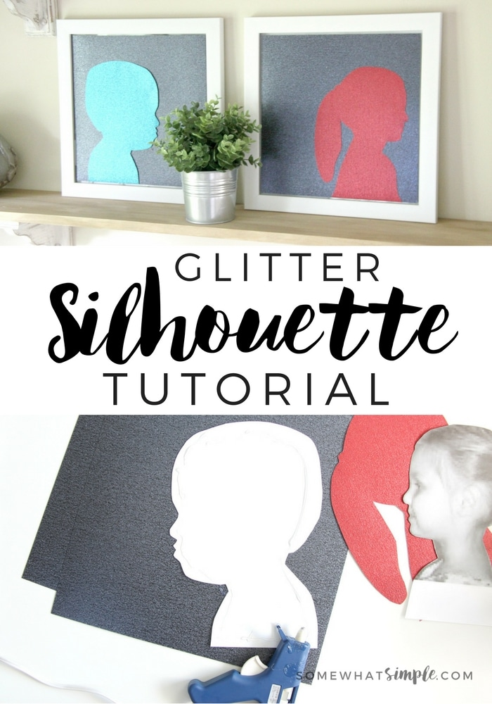 """I like to call this child silhouette craft """"Glitter Silhouettes."""" They are super simple to make, especially if you use glitter card stock paper!"""