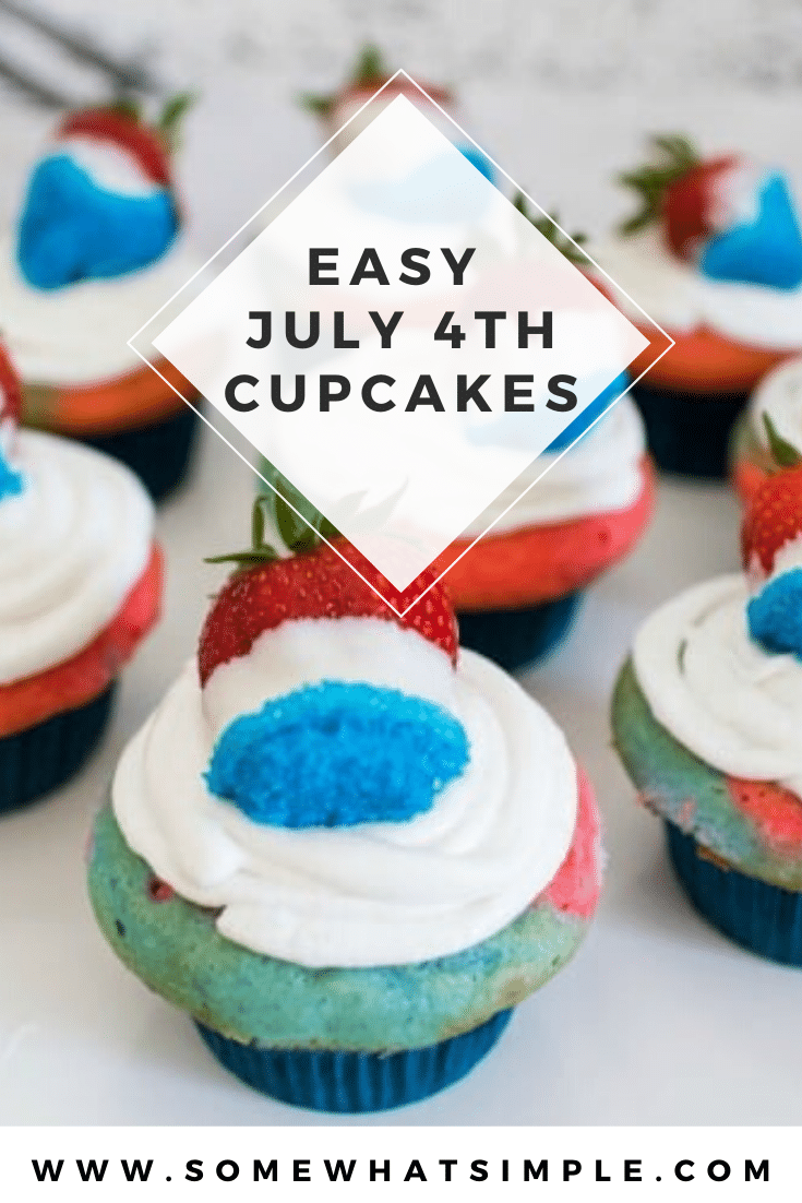 These red, white and blue cupcakes are a perfect way to celebrate the 4th of July or Memorial Day. This patriotic recipe is super easy to make and they always turn out perfect. Plus, we have a video that makes it even easier! #4thofjulycupcakes #redwhitebluecupcakes #memorialdaydessert #easyredwhitebluecupcakes #july4thcupcakeideas #4thofjulydessertidea via @somewhatsimple