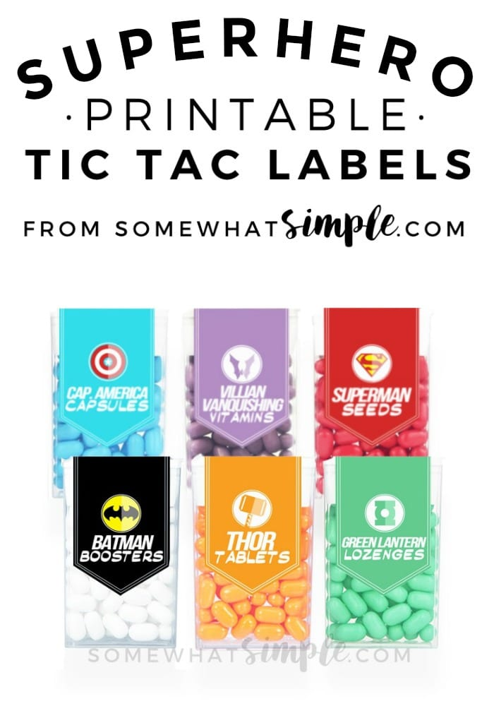 These Superhero Tic Tac Label printables are a perfect addition to your little guy's next celebration!  via @somewhatsimple