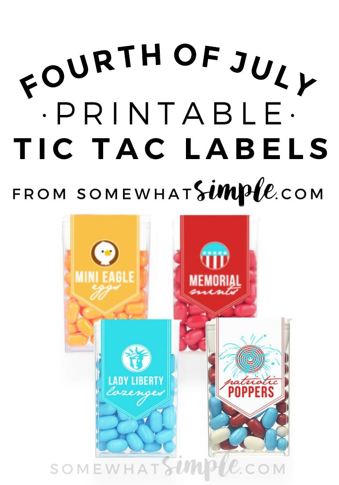 These 4th of July Tic Tac Labels are so simple and cute! The perfect way to celebrate this patriotic holiday!  via @somewhatsimple