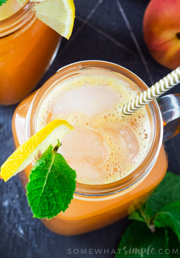 This refreshing and sweet Peach Lemonade only takes ten minutes to make and is the perfect drink to get you through the hot Summer!