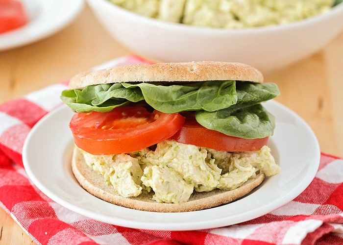 This pesto chicken salad sandwich recipe is so simple and easy to make, and healthy too. It's the perfect make-ahead lunch for a busy day!