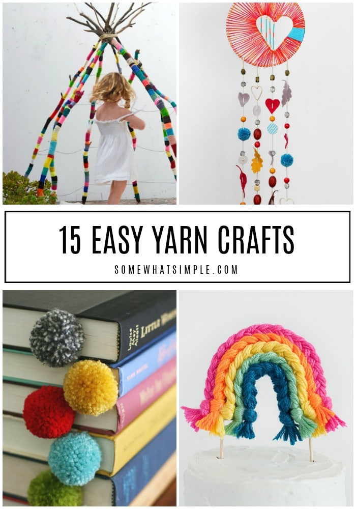 Use up your leftover and unused yarn with one of these favorite yarn crafts - no knitting or crocheting required! #yarncrafts #easyyarncrafts #yarncraftideas #diyyarncrafts #yarncraftsforkids via @somewhatsimple