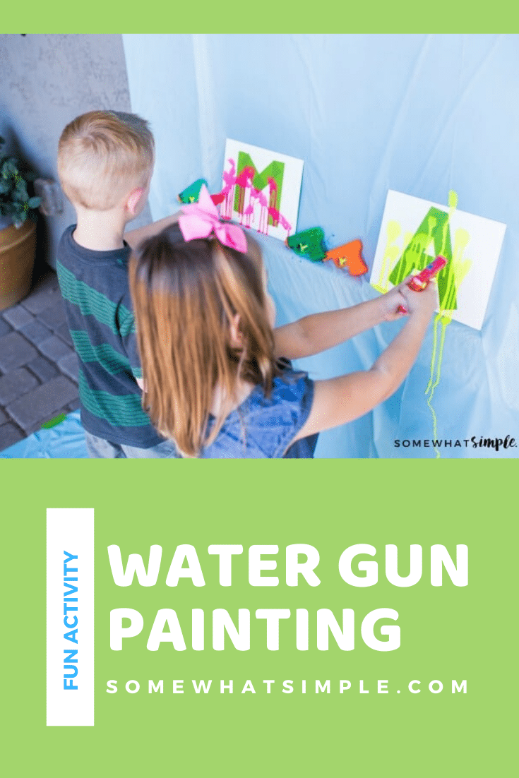 If you're looking for some fun, inexpensive art projects for kids this summer, add painting with water guns to your list! This will keep your kids busy and doing something creative with their time. #watergunpainting #funkidsactivity #paintingactivity #artproject #funprojectforkids via @somewhatsimple