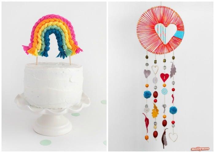a yarn cake topper and a dream catcher