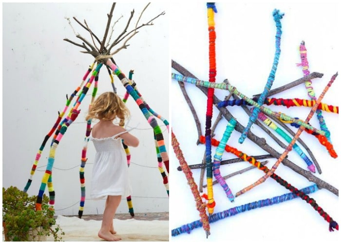 a tepee made of sticks wrapped in yarn