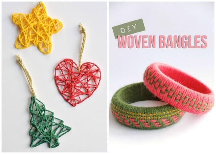 yarn ornaments and diy woven bangles