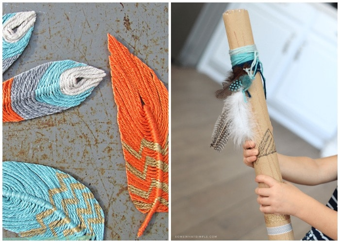 feathers made from yarn and a homemade rain stick
