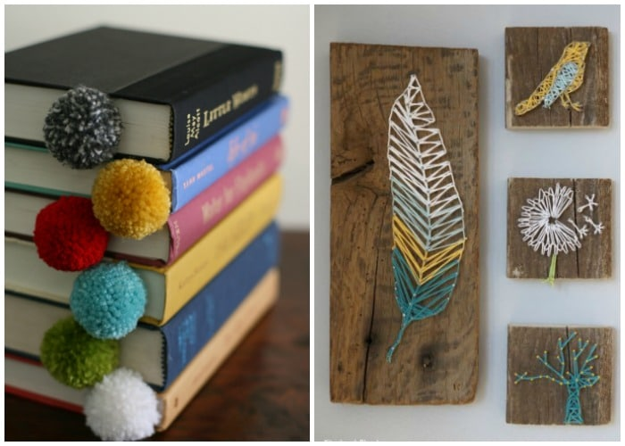 yarn bookmarks sticking out of books and some DIY yarn decorations