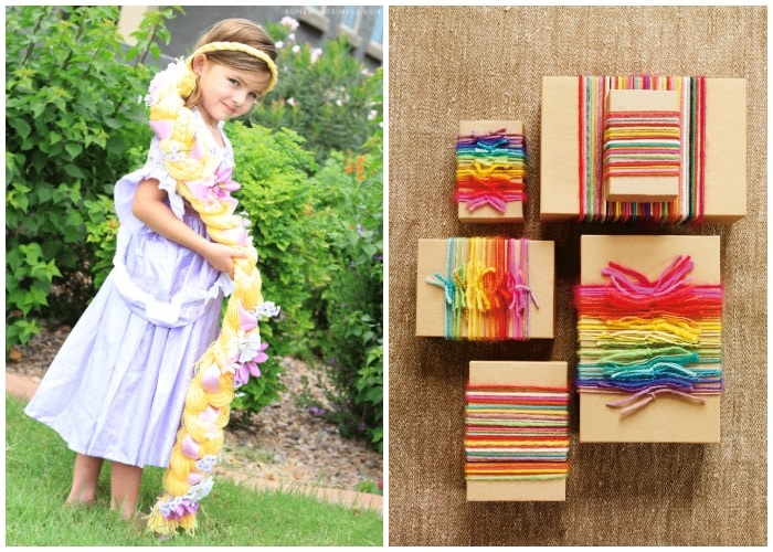 a little girl with a Rapunzel wig and another picture of yarn wrapped boxes
