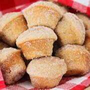 a basket of cinnamon apple muffins