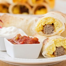 breakfast taquitos filled with eggs and sausage