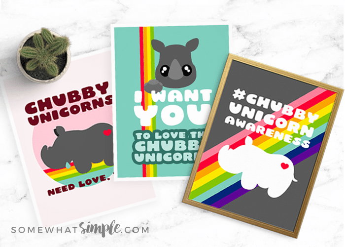 Chubby Unicorn Printables: 3 Styles To Help Raise Awareness