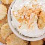 easy coconut cream pie in a white bowl
