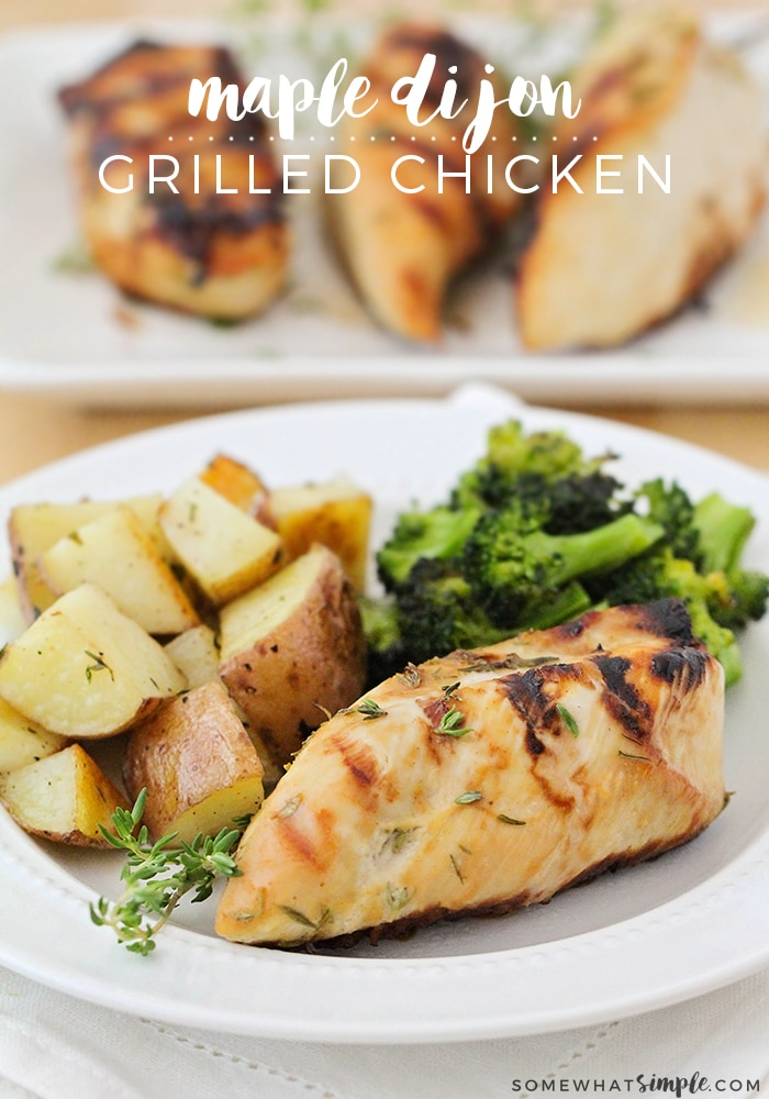 Looking for a healthy grilled chicken recipe? This delicious Maple Dijon Chicken is so juicy and flavorful, and it only calls for five ingredients! via @somewhatsimple